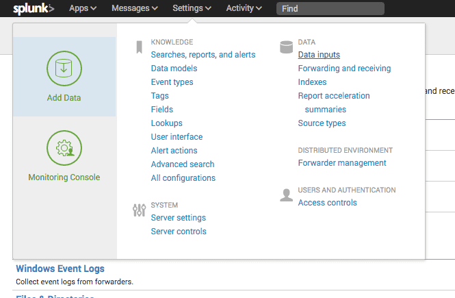 splunk settings