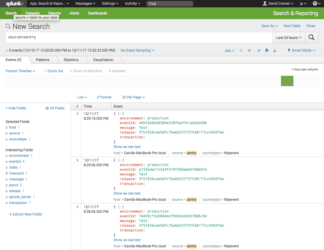 splunk search sentry